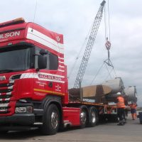 Loading the centre section on to the truck at Southampton Docks